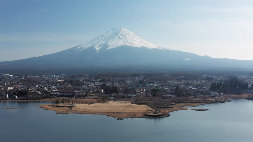 4k aerial video of Mt Fuji and Kawaguchiko in Japan | Shutterstock HD Video #1026951182