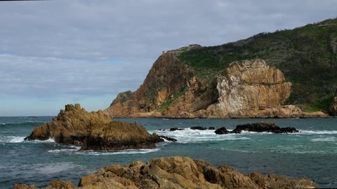 Knysna Heads, view of rocks and heads. Garden Route. Western Cape. South Africa.