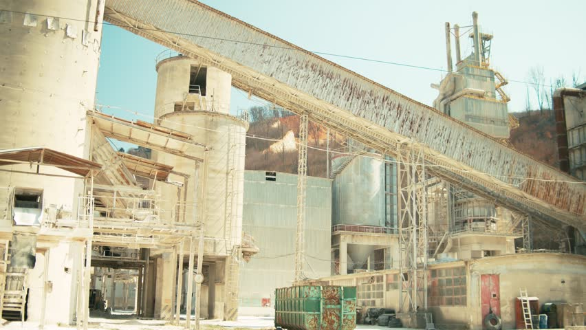Heavy old machinery for gravel or cement factory or plant   Shutterstock HD Video #1026979292