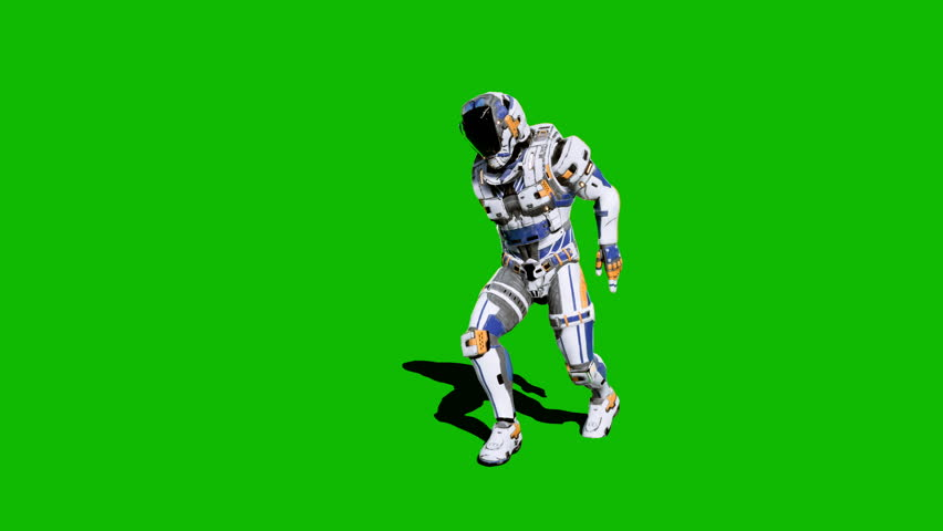Astronaut-soldier of the future, dancing in front of a green screen. Looped realistic animation. #1027024562