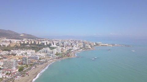 Aerial view of luxury resorts in Spain Costa Del Sol Benalmadena Fuengirola area