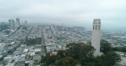 Aerial view San Francisco California USA Coit Tower Telegraph Hill on a cloudy day
