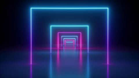 flight through spinning neon tunnel, pink blue light, moving fashion podium, abstract background, rotating frames, virtual reality, glowing lines