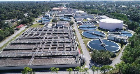 Flyover of a water treatment plant facility