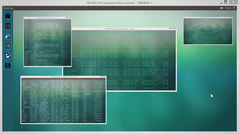 Loopable Fullscreen Desktop with Windows - PC / Linux - Windows with Code and Graphs. 4K