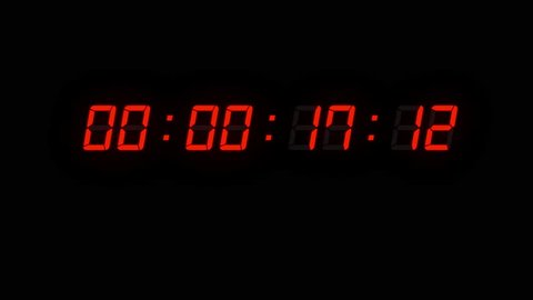One minute of glowing led 24 fps timecode readout with red digits on black background.