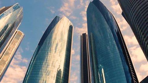 ABU DHABI, UAE - 25 MARCH 2019: Etihad Towers buildings in Abu Dhabi.