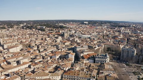 Aerial view over the city of Nimes during winter sunny day