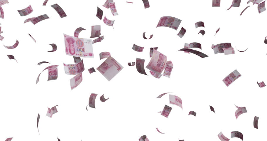 Flying 100 Chinese Renminbi, Yuan 2005  banknotes - 4K 60fps 3d render Isolated on white background | Shutterstock HD Video #1027320662