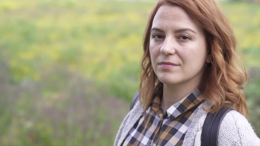 Woman Enjoying Spring in the fields Real People, slow motion video, tilt up #1027366682