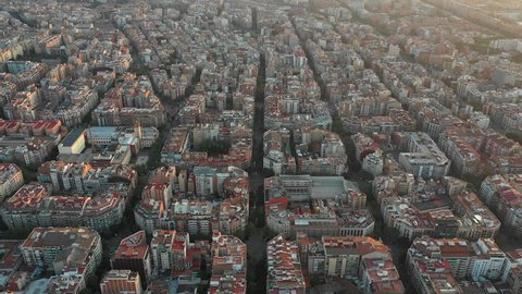 Aerial view of Barcelona's streets at Sunrise