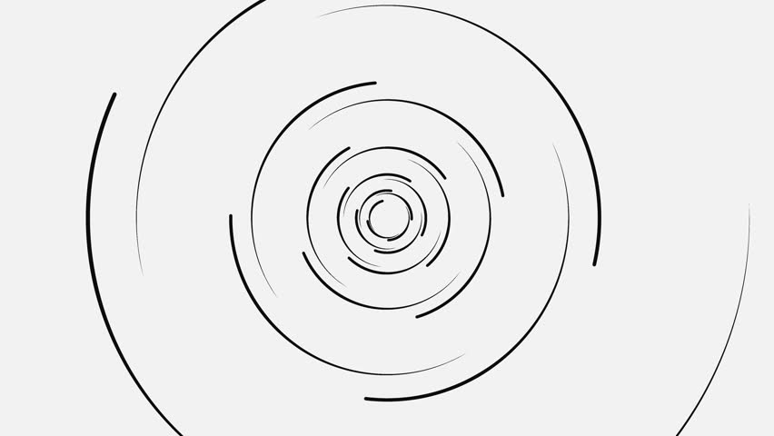 Abstract spiral of black lines on white background. Animation. Swirling spiral circular lines on background loading. Geometric fascinating loading spiral