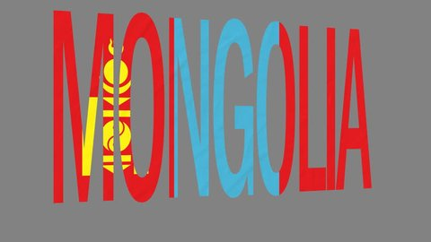 """The animated letters of the word """"Mongolia"""" in national colors are fluttering like a flag in the wind. This clip has an additional alpha matte that allows to get the background transparent."""