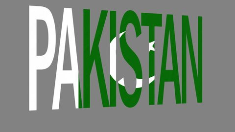 "The animated letters of the word ""Pakistan"" in national colors are fluttering like a flag in the wind. This clip has an additional alpha matte that allows to get the background transparent."