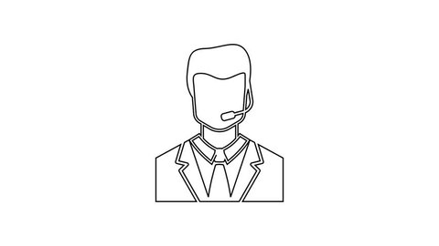Grey Man with a headset line icon on white background. Support operator in touch. Concept for call center, client support service. 4K Video motion graphic animation