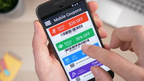 Mobile phone with savings coupons codes app