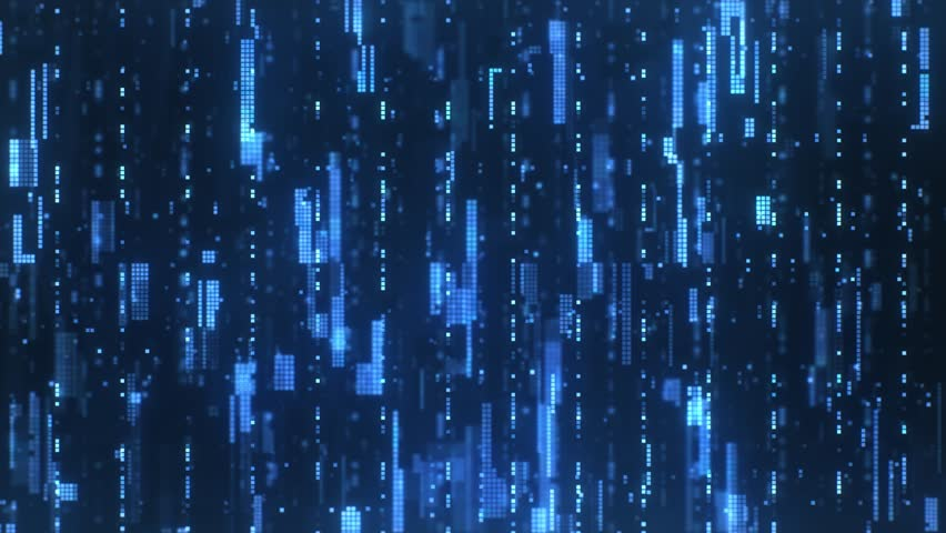 The abstract high-tech digital background represents big data analysis. Flying upwards along the bright blue flickering pixels combined into matrices randomly spaced over a dark background. | Shutterstock HD Video #1027652582