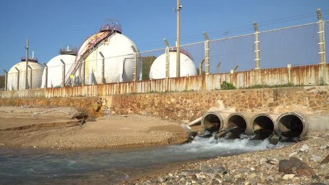 Industrial sewage drainage pipes released into the sea