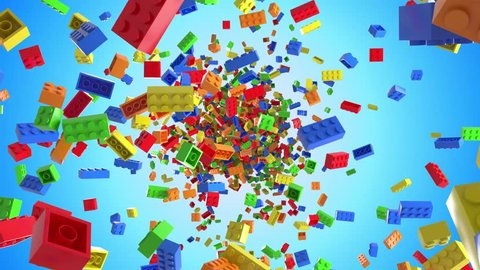 Lego building blocks in a seamless loop with background