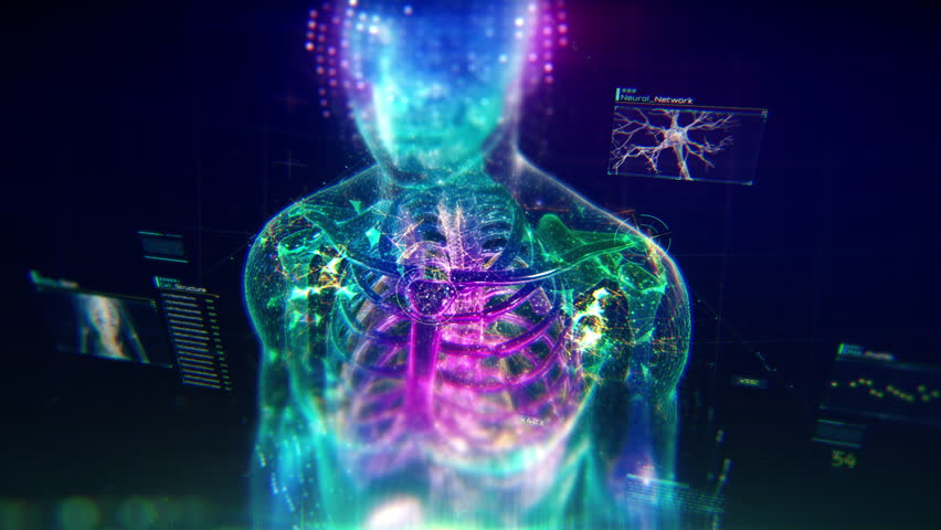 Colorful Human Body animation with infographics and particles showing bones, organs and skin. Plexus. Futuristic and Artistic concept of human anatomy. 4K UHD | Shutterstock HD Video #1027823342