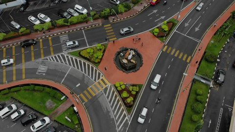KUCHING, MALAYSIA - APRIL 2019. aerial shot of the Cat Statue in Jalan Padungan, Kuching. Kuching are known as the cat city due to plenty of cats and there are many cats statue around the city