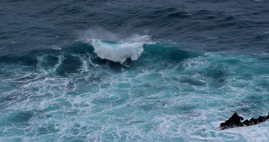 Waves in Atlantic Ocean, Porto Moniz, Madeira Island Portugal, Slow Motion 4K | Shutterstock HD Video #1027868762