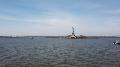 New York City USA, 16th April 2019: Statue of Liberty National Monument in New York City in the United States showing the river in the USA