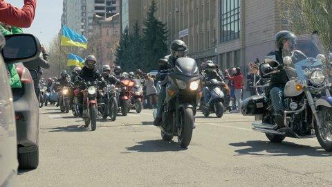 Ukraine, Nikolaev City- April 20, 2019: MYKOLAIV BIKER FEST started the Cathedral Square. More than 200 motorists gathered at the festival in Nikolaev.