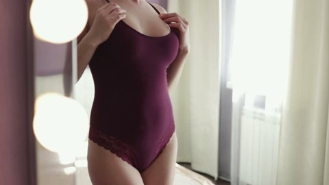 Sexy girl shows her breasts