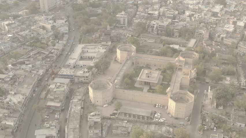 Akbar's palace, Ajmer, India, 4k aerial drone ungraded/flat footage #1028008082