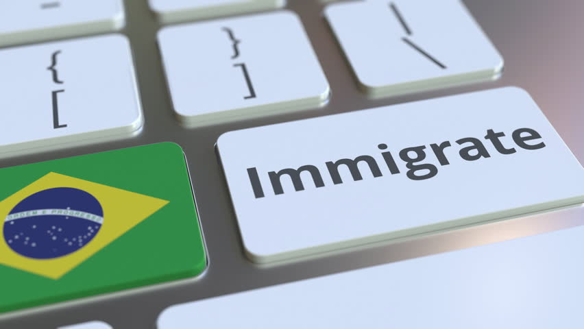 IMMIGRATE text and flag of Brazil on the buttons on the computer keyboard. Conceptual 3D animation   Shutterstock HD Video #1028014772
