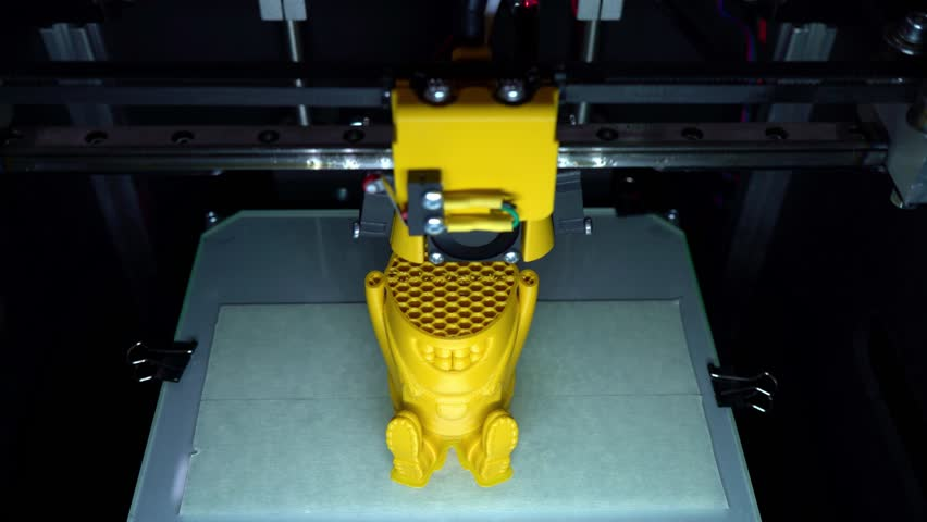 3D printer. Layer-by-layer creation of a solid object. Growing object. Material freezing during cooling. Polymeric materials. Plastic. | Shutterstock HD Video #1028015042