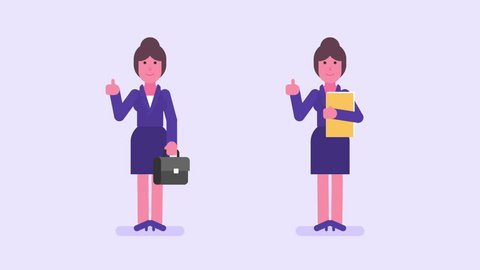 Business woman showing thumbs up holding suitcase folder and smiling. Alpha channel. Loop animation. Motion graphics