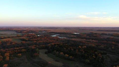 Fall Woodlands and River Aerial 4K (Nebraska)