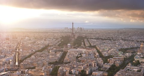 Paris from high point and tower of Eifel, France