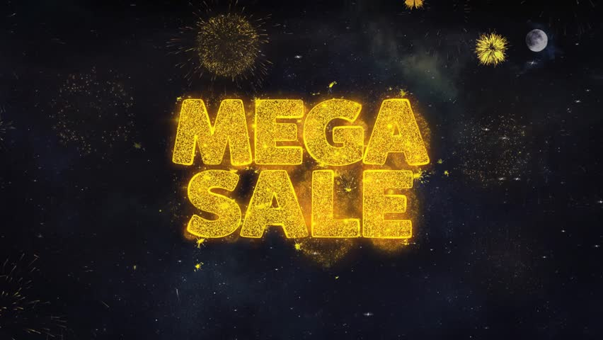 Mega Sale Text Typography Reveal From Golden Firework Crackers Particles Night Sky 4k Background. Greeting card, Celebration, Party, Invitation, Gift, Event, Message, Holiday, Wish, Festival  | Shutterstock HD Video #1028090192