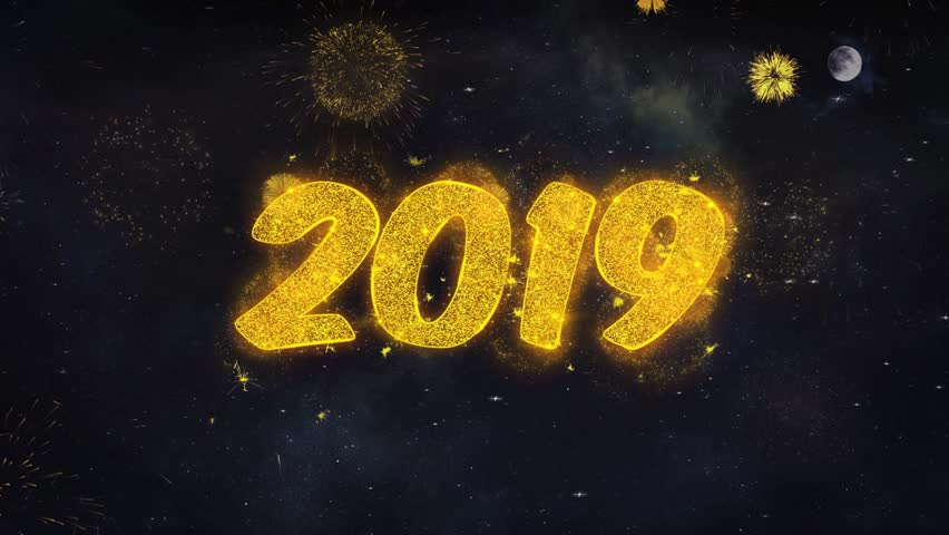 2019 2 Text Typography Reveal From Golden Firework Crackers Particles Night Sky 4k Background. Greeting card, Celebration, Party, Invitation, Gift, Event, Message, Holiday, Wish Festival  | Shutterstock HD Video #1028090342