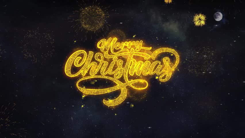 Merry Christmas 2 Text Typography Reveal From Golden Firework Crackers Particles Night Sky 4k Background. Greeting card, Celebration, Party, Invitation, Gift, Event, Message, Holiday, Wish, Festival  | Shutterstock HD Video #1028090402