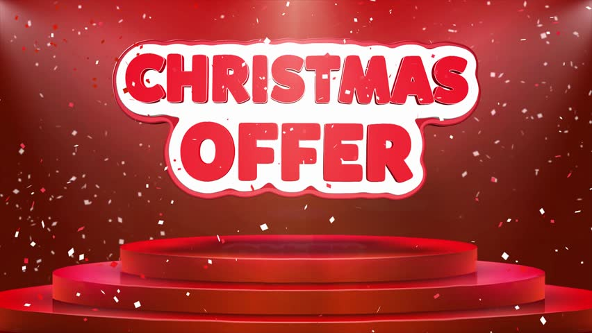 Christmas Offer Text Animation on 3d Stage Podium Carpet. Reval Red Curtain With Abstract Foil Confetti Blast, Spotlight, Glitter Sparkles, Loop 4k Animation. | Shutterstock HD Video #1028118932