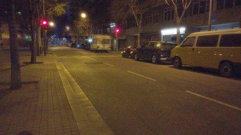 Street in Barcelona.Spain. 4k Video