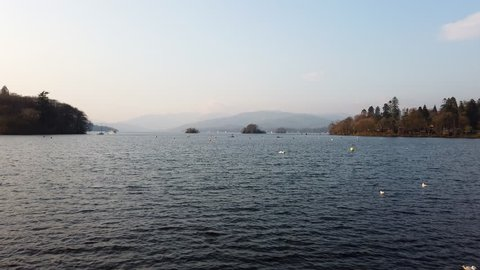 Lake Windermere from the town of Bowness-on-Windermere in South Lakeland, Cumbria, England