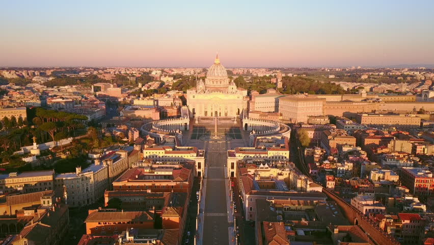 Rome vatican city aerial view at sunrise rise up tilt down on st peter basilica | Shutterstock HD Video #1028188592