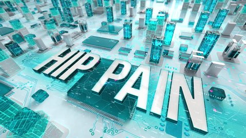 Hip Pain with medical digital technology concept