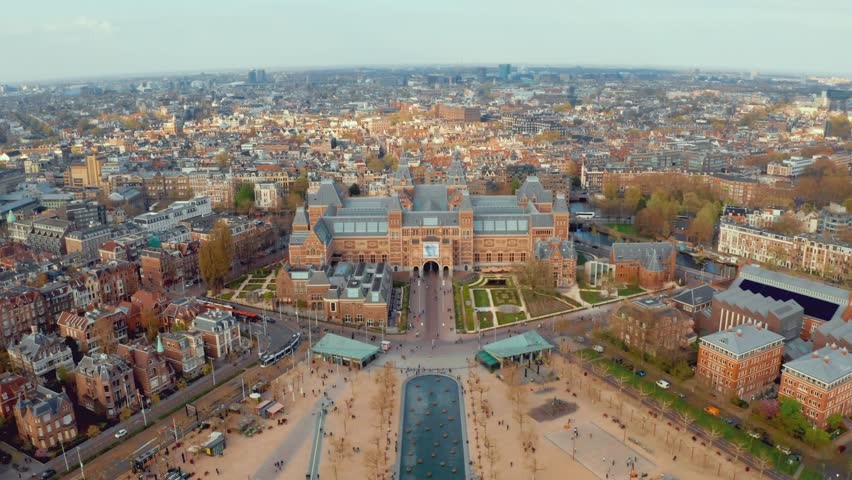 Aerial view Amsterdam landscape near famous museums and parks. | Shutterstock HD Video #1028241062