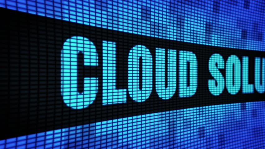 Cloud Solutions Side Text Scrolling on Light Blue Digital LED Display Board Pixel Light Screen Looped Animation 4K Background. Sign Board , Blinking Light, Pixel Monitor, LED Wall Panel | Shutterstock HD Video #1028248232