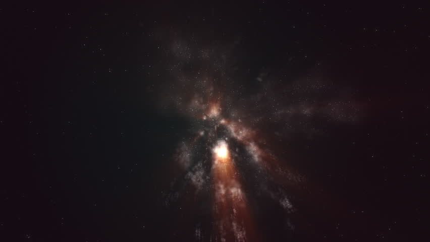CGI generated space travel with starfield and orange nebula clouds. #1028258432