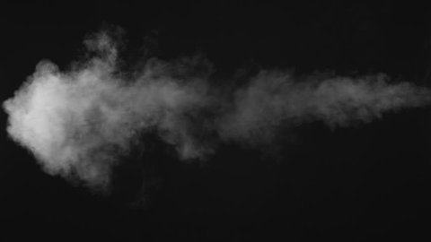 White water vapour on a black background. Close-up shot 4k