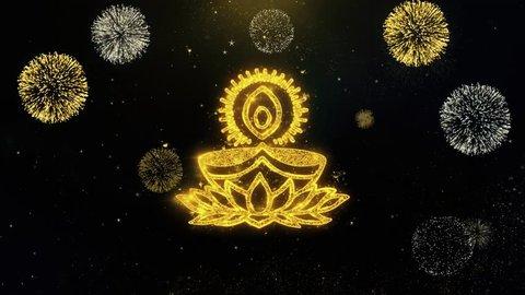Deepak Diya Lamp Written Gold Glitter Particles Spark Exploding Fireworks Display 4K Background