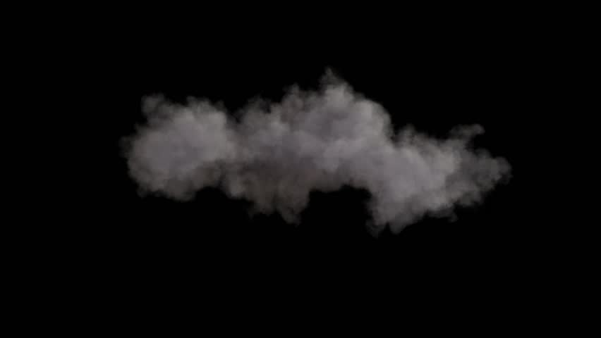 4k cloud loop. beautiful fast billowing cloud isolated on black background with alpha, light rays shining through, popular compositing element