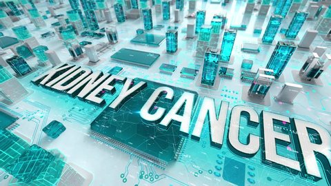Kidney Cancer with medical digital technology concept